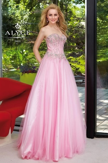 Pink prom dress with beaded bodice by Alyce Designs.