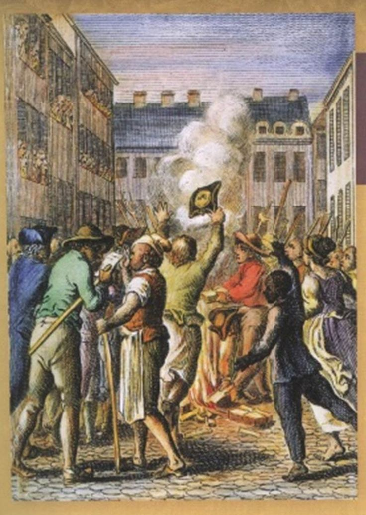 Bostonians protest the Stamp Act by burning stamps in a ...