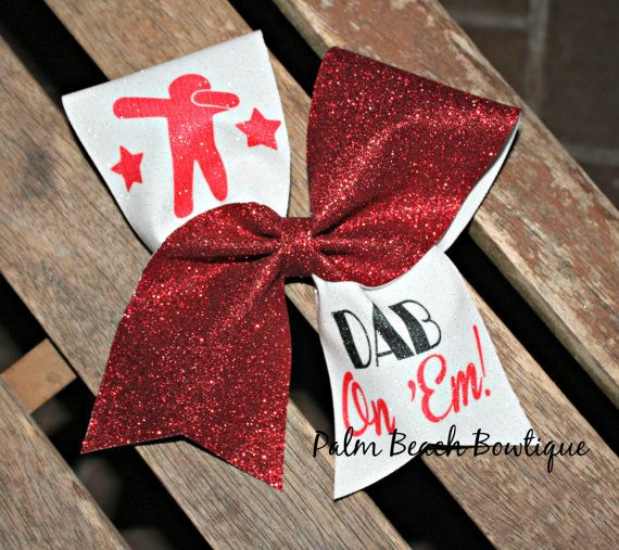 Hey, I found this really awesome Etsy listing at https://www.etsy.com/listing/262852949/dab-on-em-cheer-bow-softball-bow-soccer