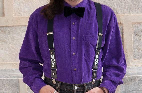 Vintage Suspenders, Braces, Black and White, Men's, BOY London, Leather & Elastic