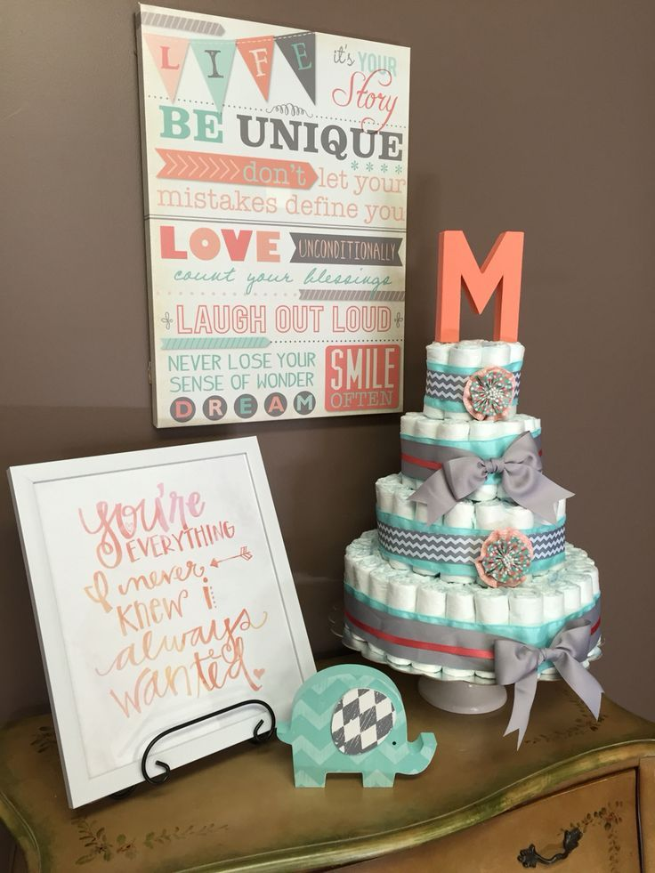 Baby Shower Decorations Mint And Coral Cute Diaper Cake