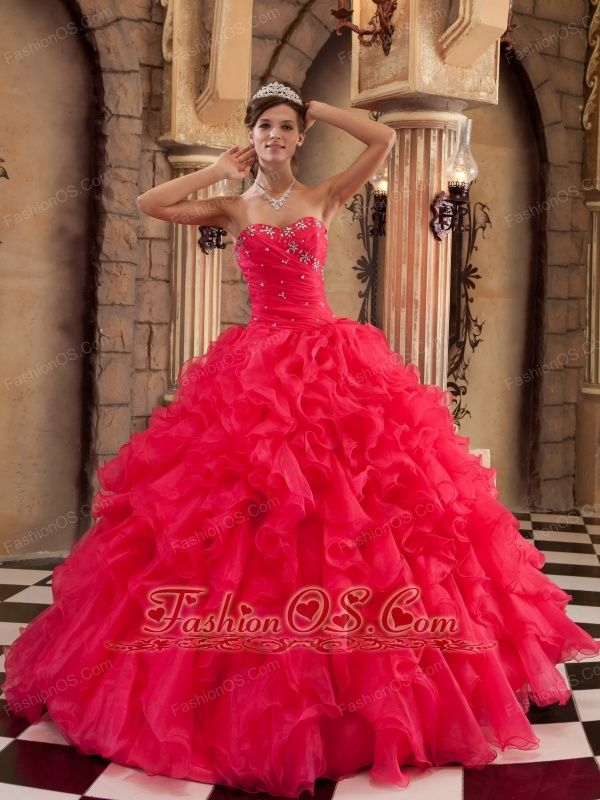 Sexy Coral Red Quinceanera Dress Sweetheart Ruffles Organza Ball Gown  http://www.fashionos.com  Can't decide to wear to attend quinceanera, prom or party? Get the best of this flirty and fun dress for quinceanera, prom or special occasion party. This quinceanera dress features strapless sweetheart bodice with ruching and dreamful skirt. Exquisite beading on the top upgrades your taste and beautify the dress. The full length skirt with vertical ruffles falls from the body-hugging waist in…