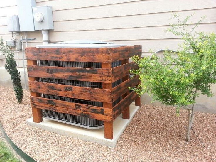 Air Conditioner Cover I Made From 1 Pallet And Then Stained Pallet Diy In 2021 Air Conditioner Cover Pallet Diy Backyard Projects