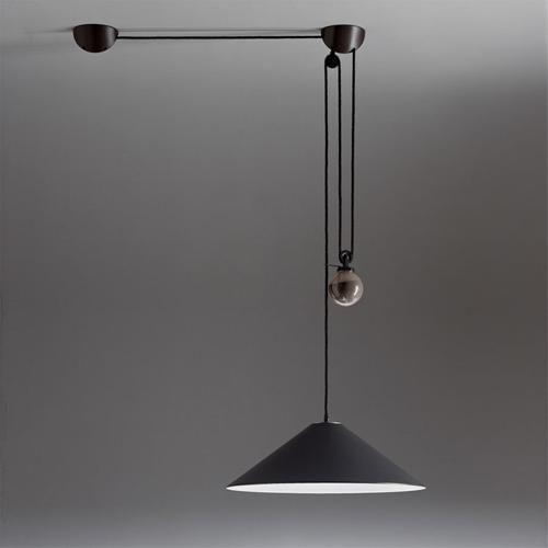 Artemide | Aggregato Saliscendi Cono Grande Metallo | rise and fall ceiling pendant light by Enzo Mari & Giancarlo Fassina