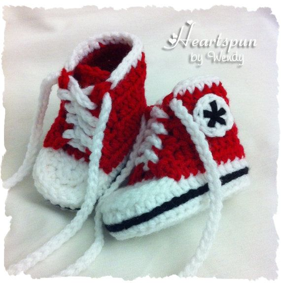 Hand Crocheted Baby Boy or Girl High Top Converse Bootie ...