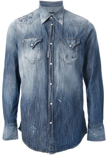 Blue cotton #denim #shirt from #DSQUARED2 featuring a classic collar, long sleeves, a press stud fastening, two chest pockets, a faded effect and embroidered detail.
