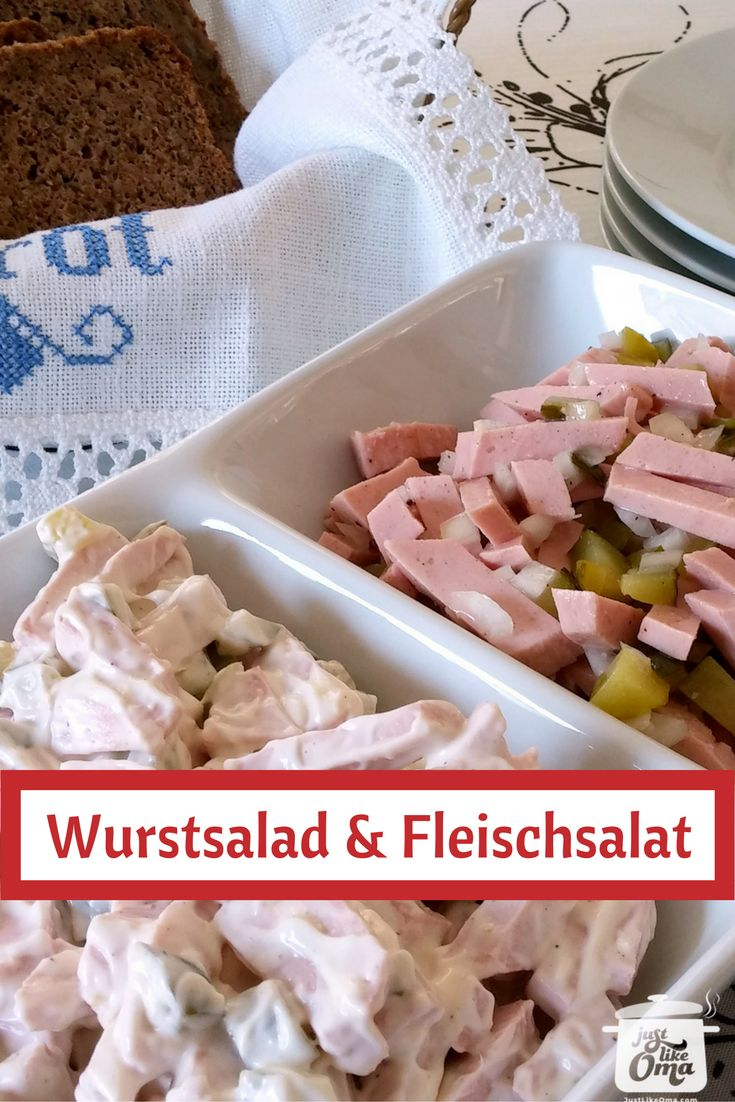 German Meat Salad comes in two types. One with mayo and one without. Check it out at http://www.quick-german-recipes.com/Wurstsalat.html