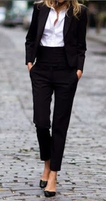 Just a pretty style | Latest fashion trends: Office outfit | Women suit with high waisted trousers