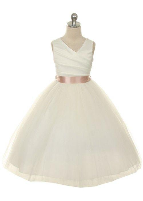 New Ivory Flower Girl Dress with Choice of Sash Sz 2 14 | eBay