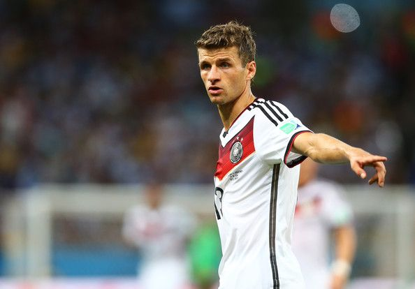 Thomas Mueller Photos Photos - Thomas Mueller of Germany gestures during the 2014 FIFA World Cup Brazil Final match between Germany and Argentina at Maracana on July 13, 2014 in Rio de Janeiro, Brazil. - Germany v Argentina