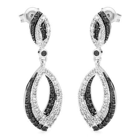 Par de Brinco Navete de Prata com Diamantes Negros e Brancos - - Medalhão Persa
