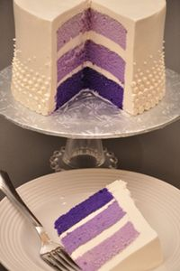 Purple, lavender and more lavender. We love this decadent and luscious wedding cake from Bethel Bakery of Pittsburgh. And all this with French Buttercream icing. Find out more at http://www.pittsburghwedding.com/vendor-directory/bethel-bakery-684.html