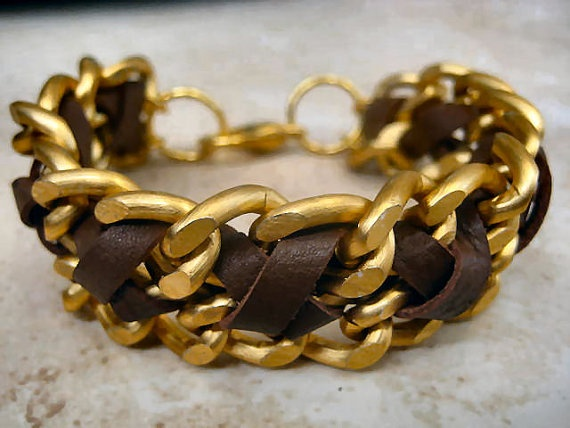 """Boho Chic Mocha Brown Leather Matte Gold Chunky Chain Stacking Bracelet....""""FREE SHIPPING""""   by LeatherDiva, $28.00"""