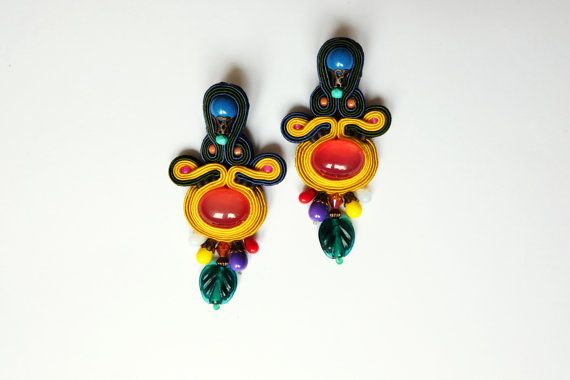 Tropical Punch summer colorful soutache earrings, embroidered jewelry, dangle drop earrings, rainbow colors