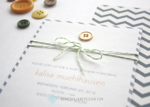 Items Similar To Baby Shower Invitation: Cute As A Button On Etsy