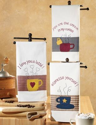 Coffee Theme Country Towel Trio Set...love the towel rack itea