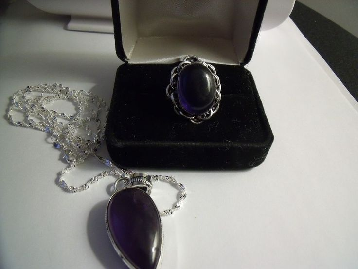 Amethyst Ring Size 9 & Pendant/Necklace Sterling Silver .925 & Chain 28  | eBay
