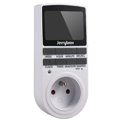 Jerrybox Prise Programmable Digitale, Minuterie 24H/7J, Prise de Courant Classique, Econome en Energie Pour Les Lumières de La Maison et…
