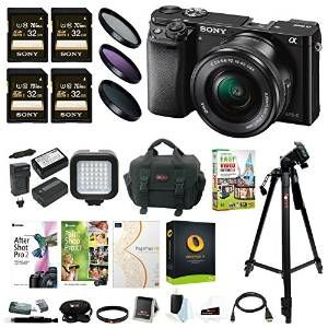 Sony Alpha a6000 24.3MP Mirrorless Digital Camera with 16-50mm Lens and Four 32GB SD Card Bundle (Black)