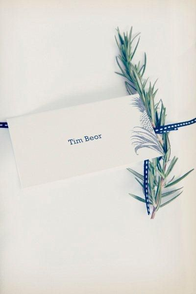 Attach a sprig of rosemary to your name cards. Image: Bella Design & Imagery