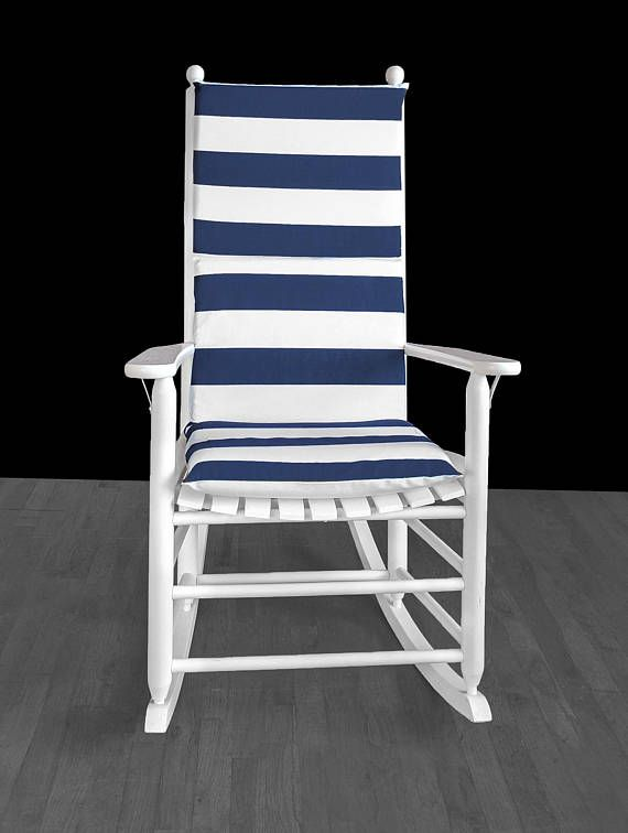 Navy Blue Cabana Stripe Rocking Chair Cushion And Or Covers