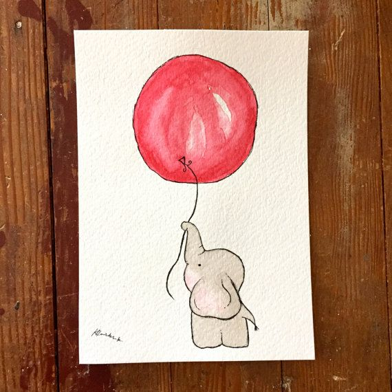 Elephants Away! This watercolor painting is a little elephant floating away while holding a sweet red balloon! From EmersonColorCo on Etsy.com