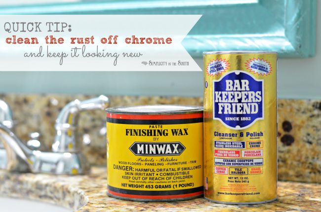 There's a trick I learned from my grandfather when he would clean his tools and I've been using this same trick for cleaning the rust off our chrome light fixtures and shower rods. I'll also tell you what he used to keep the rust from coming back.  Two simple things: Barkeeper's Friend to remove the rust and Minwax Finishing Wax Paste to protect the metal after you clean it.