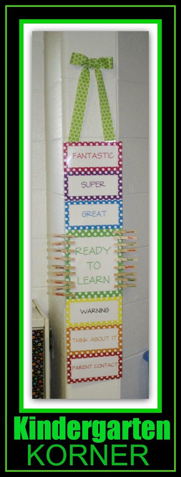 Vertical Behavior Chart from Kindergarten Korner (Behavior Chart RoundUP via RainbowsWithinReach)