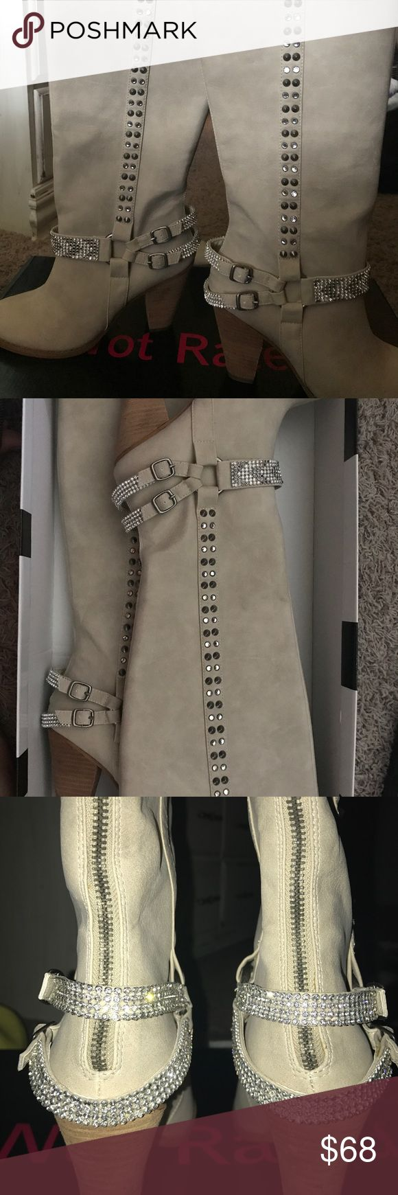 Not Rated cream boots size 7 1/2 Never worn Not Rated jeweled boots size 7 1/2 Not Rated Shoes Heeled Boots