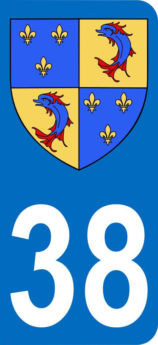 Autocollants 38 de l'Isère avec blason du Dauphiné au format plaque minéralogique
