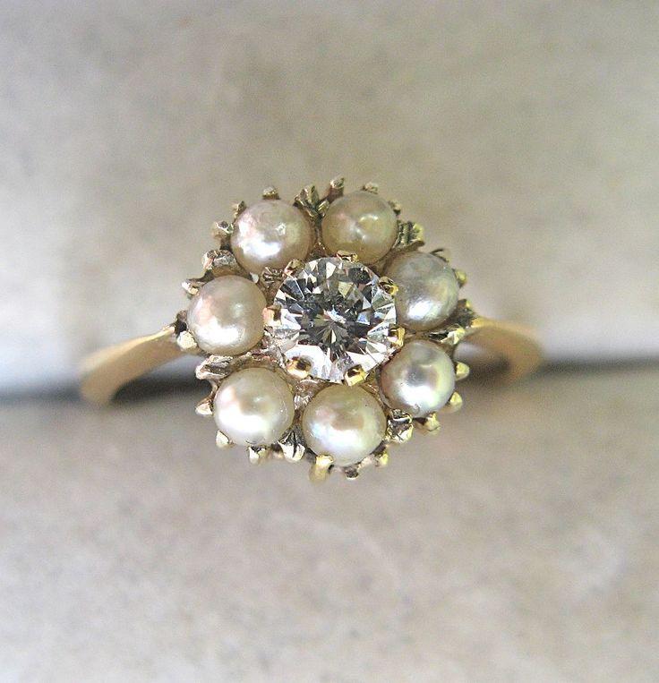 Victorian Diamond Pearl Ring--- sigh.