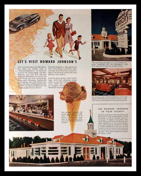 1955 HOWARD JOHNSON/'S Restaurant /& Ice Cream Vintage Look Replica Metal Sign