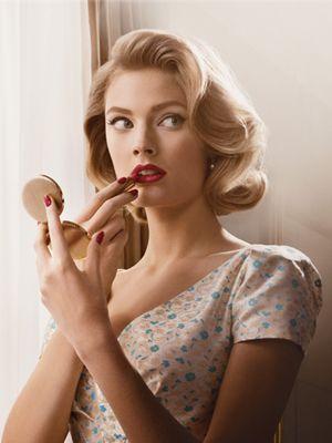 Estée Lauder Mad Men-themed makeup. Love the hair.