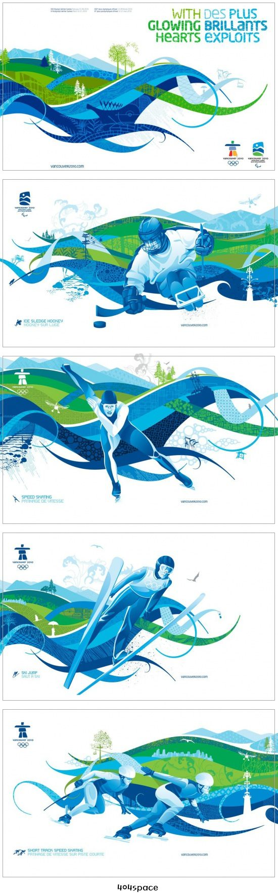 Vancouver Olimpic Poster *****Love the sense of movement created by the wave like shapes. The limited colour palette helps to mesh the shapes and the athletes together, creating a harmony between the two. I would like to use this sense of movement using shapes and colour in my artwork. The subtle patterns add an element of interest and dimension to the image.*****