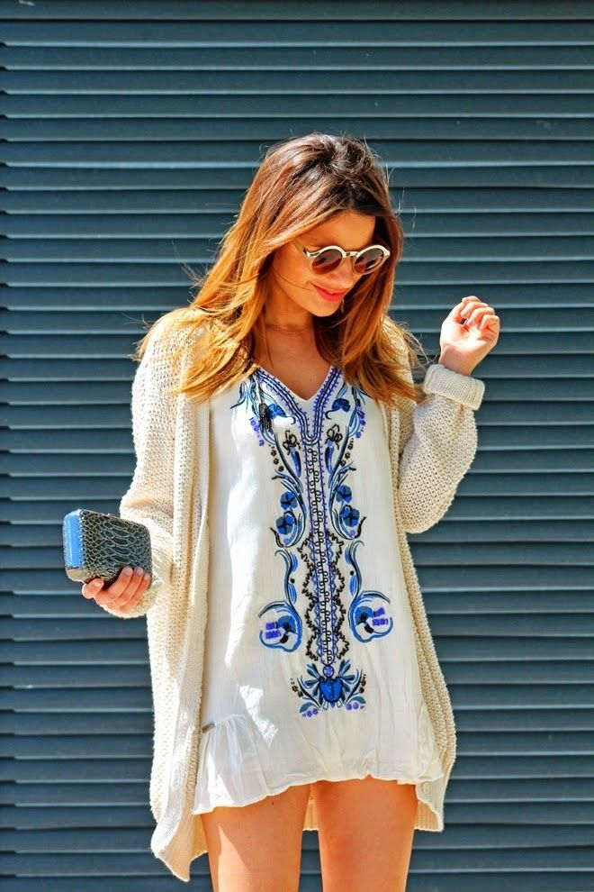 Blue Embroidered White Summer Dress