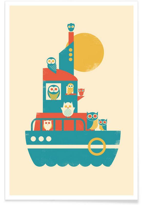 Owl A Board en Affiche premium par Jay Fleck | JUNIQE