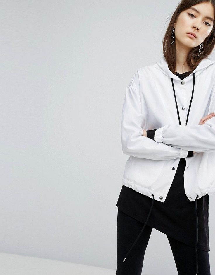 Dr Denim Drawstring Hooded Jacket - White