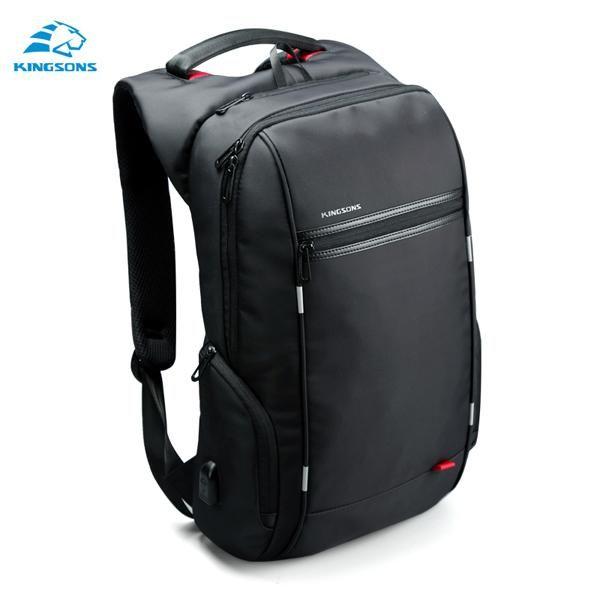 Kingsons Brand 15.6'' Men Laptop Backpack External USB Charge Antitheft Computer Backpacks Male Waterproof Bags