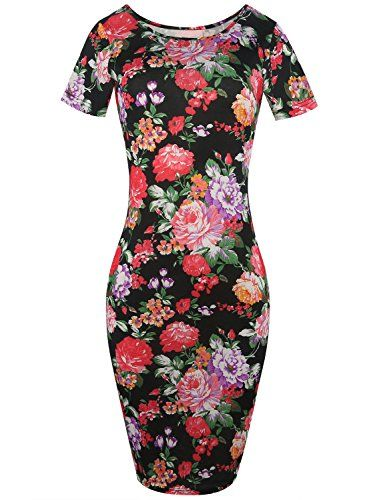 New Trending Formal Dresses: Women Floral Print Bodycon Midi Dress Short Sleeve Slim Fit Pencil Dress 223(XL, Black). Women Floral Print Bodycon Midi Dress Short Sleeve Slim Fit Pencil Dress 223(XL, Black)  Special Offer: $16.99  333 Reviews classy sassy flower stretchy bodycon pencil dress 100% brand new dresses .elegent and comdy dress,very soft and comfortable to wear. suitable for many...