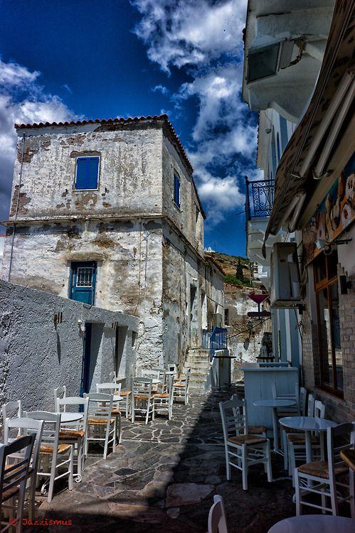 Narrow alley in Batsi ,#Andros. Andros, a Greek island in Cyclades. #exploreGreece_hellenicdutyfree