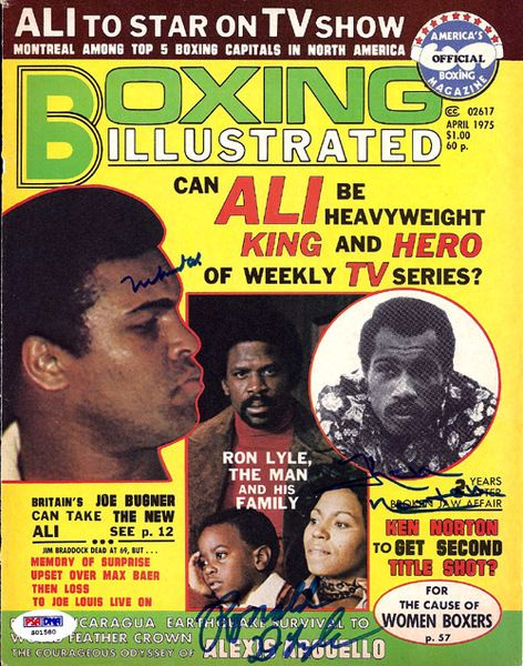 Muhammad Ali, Ken Norton & Ron Lyle Autographed Boxing Illustrated Magazine Cover PSA/DNA #S01580