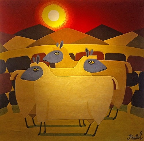 Graham Knuttel ''Alert Sheep Tapestry'' #art #painting #sheep #DukeStreetGallery #GrahamKnuttel
