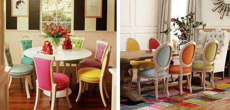 sillas de colores tapizadas Sillas de colores para una decoración alegre