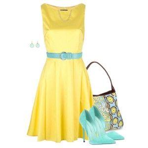 Голубые туфли под желтое платье
