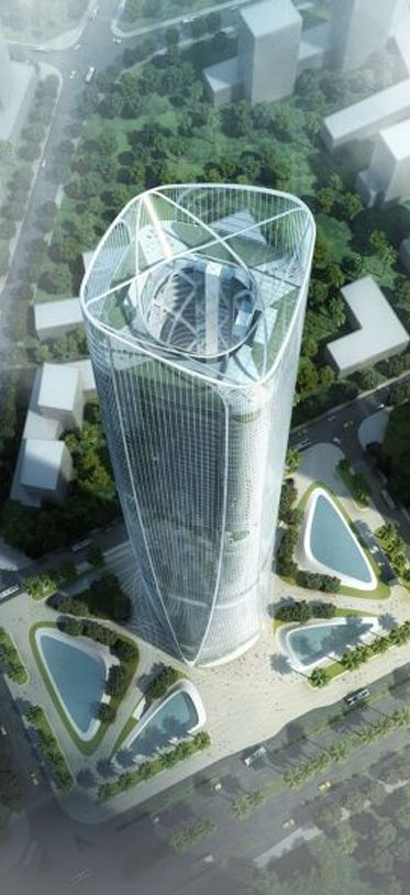Hainan International Exchange Square Tower, former Haikou Tower, Haikou, Hainan, China by 	HENN Architekten :: 98 floors, height 450m