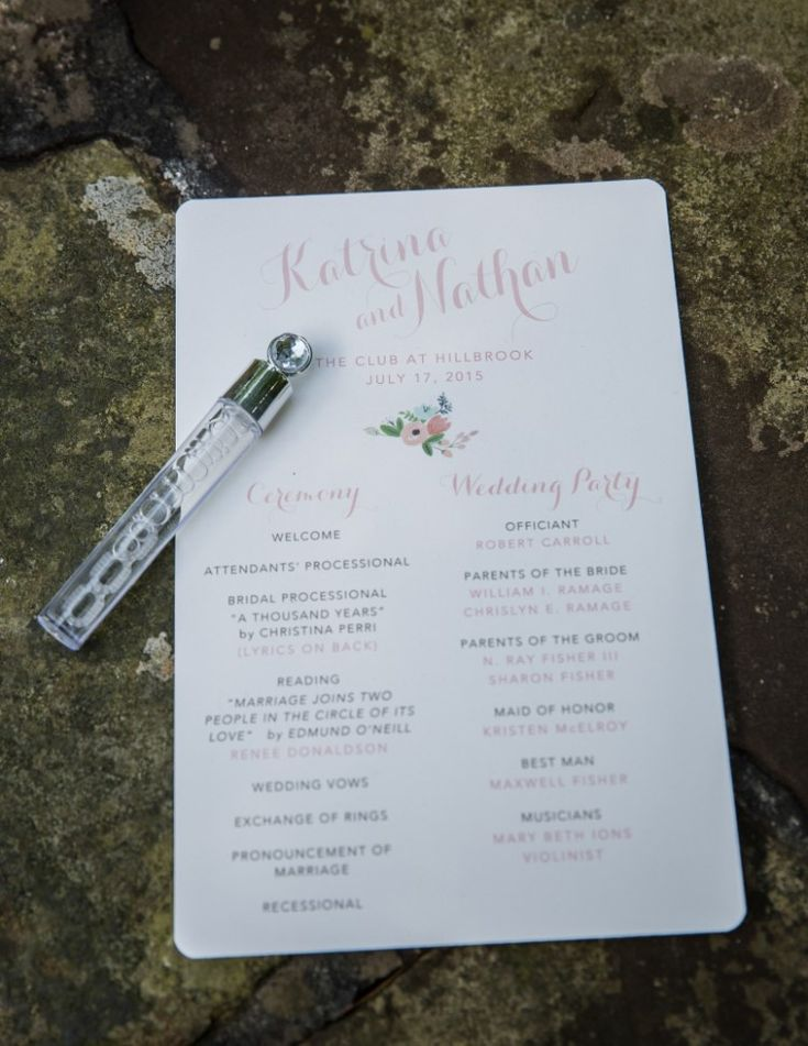 Rustic Outdoor Wedding at The Club at Hillbrook, OH  Simple, elegant program for the wedding ceremony!   Photographer:  Imagine It Photography