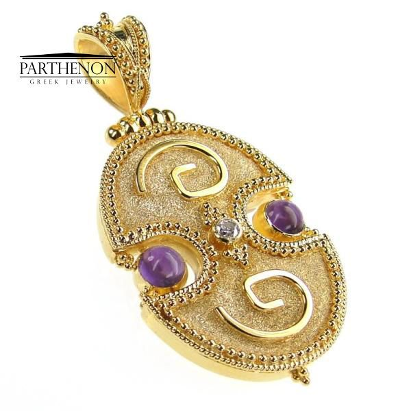 Damaskos: Handmade Byzantine Pendant 18k Solid Gold Amethyst and Diamond