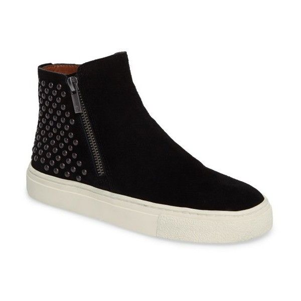 Women's Lucky Brand Bayleah High Top Sneaker ($99) ❤ liked on Polyvore featuring shoes, sneakers, black suede, black trainers, black shoes, high-top sneakers, zip sneakers and high top shoes