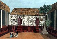 Ashanti Empire - Picture of Ashanti architecture drawn by Thomas Edward Bowdich, with Adinkra symbols on the walls.