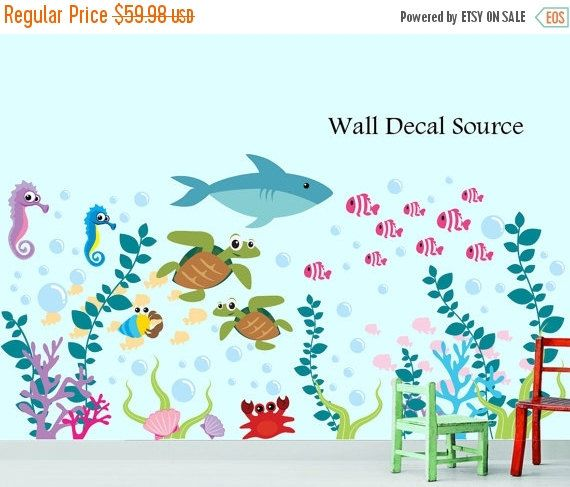 LAST CHANCE SALE  Sea Life Decals  Ocean Life by WallDecalSource